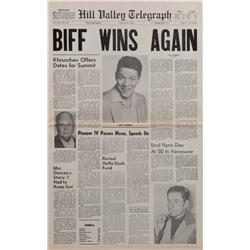 """Prop Hill Valley Telegraph newspaper featuring """"BIFF WINS AGAIN"""" from Back to the Future II"""