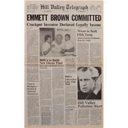"""Prop Hill Valley Telegraph newspaper featuring """"EMMETT BROWN COMMITTED"""" from Back to the Future II"""