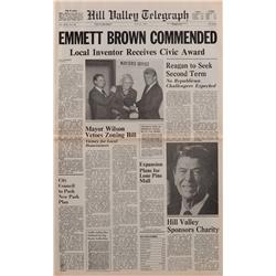 """Prop Hill Valley Telegraph newspaper featuring """"EMMETT BROWN COMMENDED"""" from Back to the Future II"""