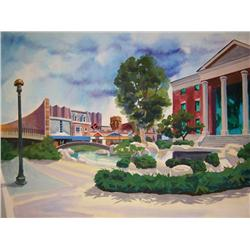 Original screen-used painting of 2015 future Hill Valley from Back to the Future II