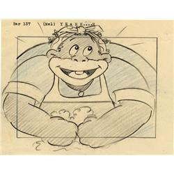 Pair of original Walter Lantz storyboard panels from Scrub Me Mama with the Boogie Beat