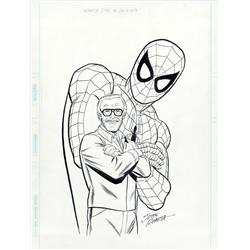 Spider-Man and Stan Lee original artwork for How to Draw Comics the Marvel Way by John Romita