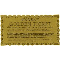 Original screen-used Golden Ticket from Willy Wonka & the Chocolate Factory
