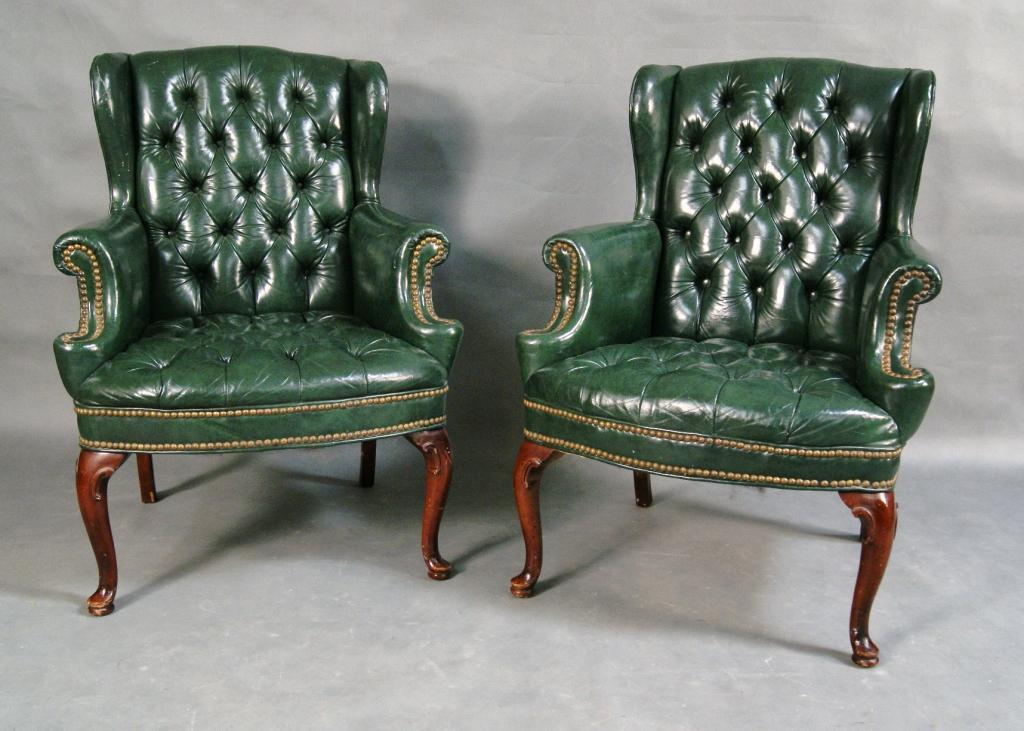 Merveilleux Pair Of Tufted Wingback Chairs. Loading Zoom