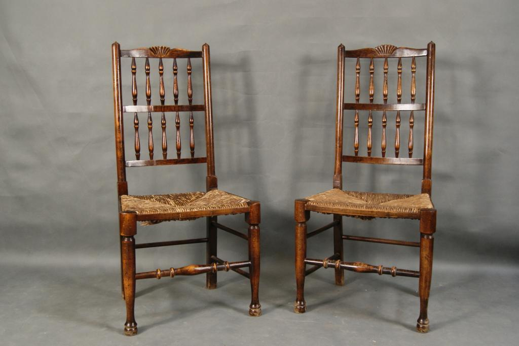 Pair of Antique rush seat chairs with cusions. Loading zoom & Pair of Antique rush seat chairs with cusions