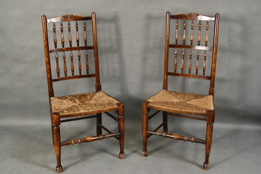 ... Image 2 : Pair Of Antique Rush Seat Chairs With Cusions ...