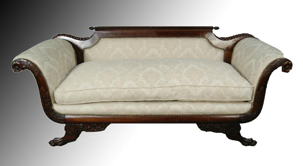 19th C Carved Duncan Phyfe Sofa Creme w Taupe Tapestry