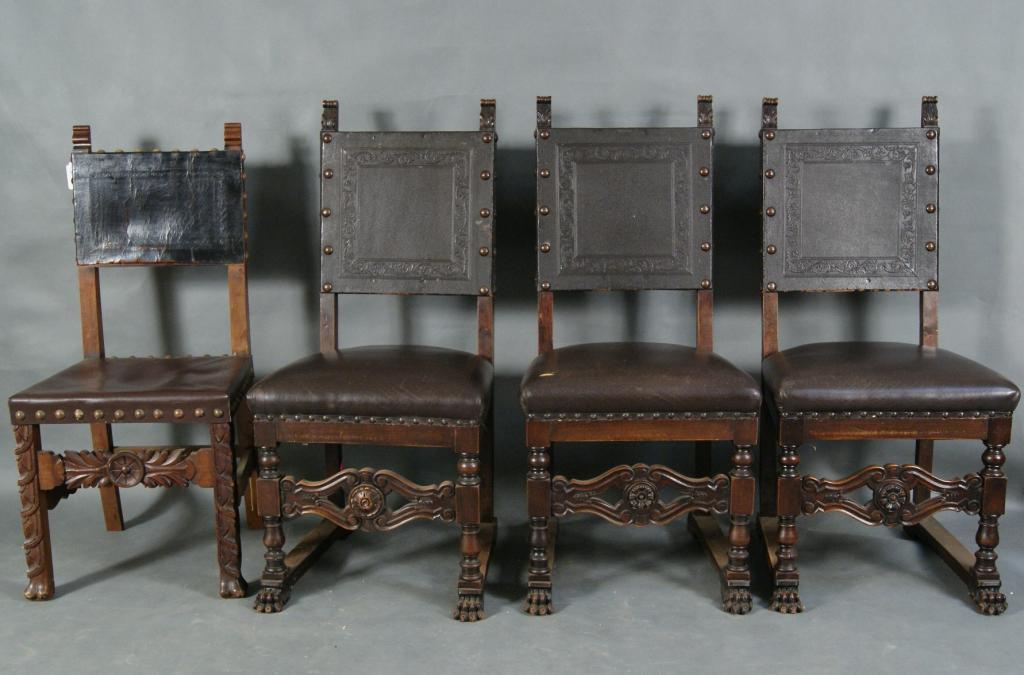 4 Spanish Colonial Chairs W/ Tooled Leather. Loading Zoom