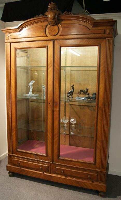 Image 1 : Belgian Walnut Showcase Cabinet Beveled Glass, Lights And Glass  Shelves ...