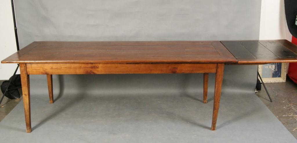 Measures · Image 2 : 19th C French Cherry Wood Farm Table W Extension And  Drawer.