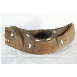 Carved 10  Klickitat Grease Bowl w/ inlays & cased abalone & bone/ivory inlays