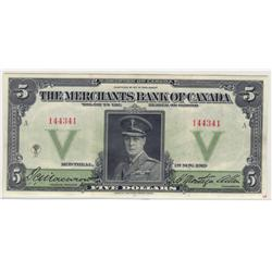 1919  Five Dollars  Merchants Bank of Canada, CCGS VF-30, CH 460-22-02