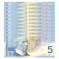 2003  Five Dollars 10 Consecutive Replacement, BC-62aA-i, GEM UNC