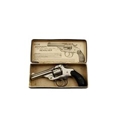 Iver Johnson DA Top Break Cal .32 SN:13677 Double action top break revolver. Nickel finish, black ha