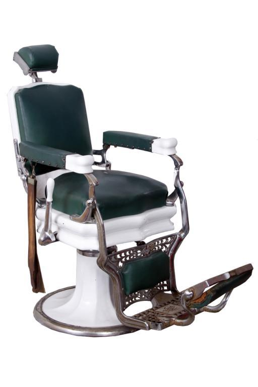 Image 1 : Koken Antique Barber Chair Circa 1920 Porcelain base with chrome  hardware and green - Koken Antique Barber Chair Circa 1920 Porcelain Base With Chrome
