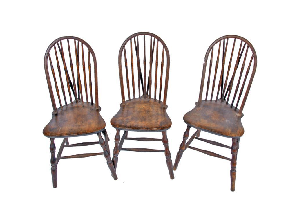 Lot of Three Early American Antique Chairs 19th century well made unusual back support. Loading zoom  sc 1 st  iCollector.com & Lot of Three Early American Antique Chairs 19th century well made ...