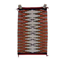 Lot of Two Navajo All Natural Textile Weaving One red, black, & white striped and zigzag patterned r