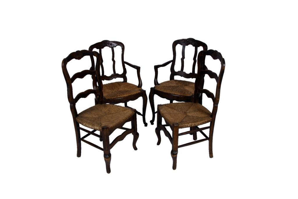 Four French Country Dining Chairs Two Arm Chairs With Floral - French country chairs