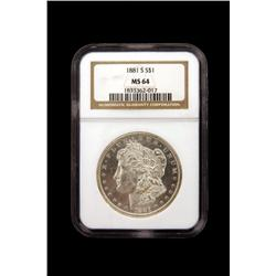 1881-S US Peace Dollar NGC MS-64 Graded