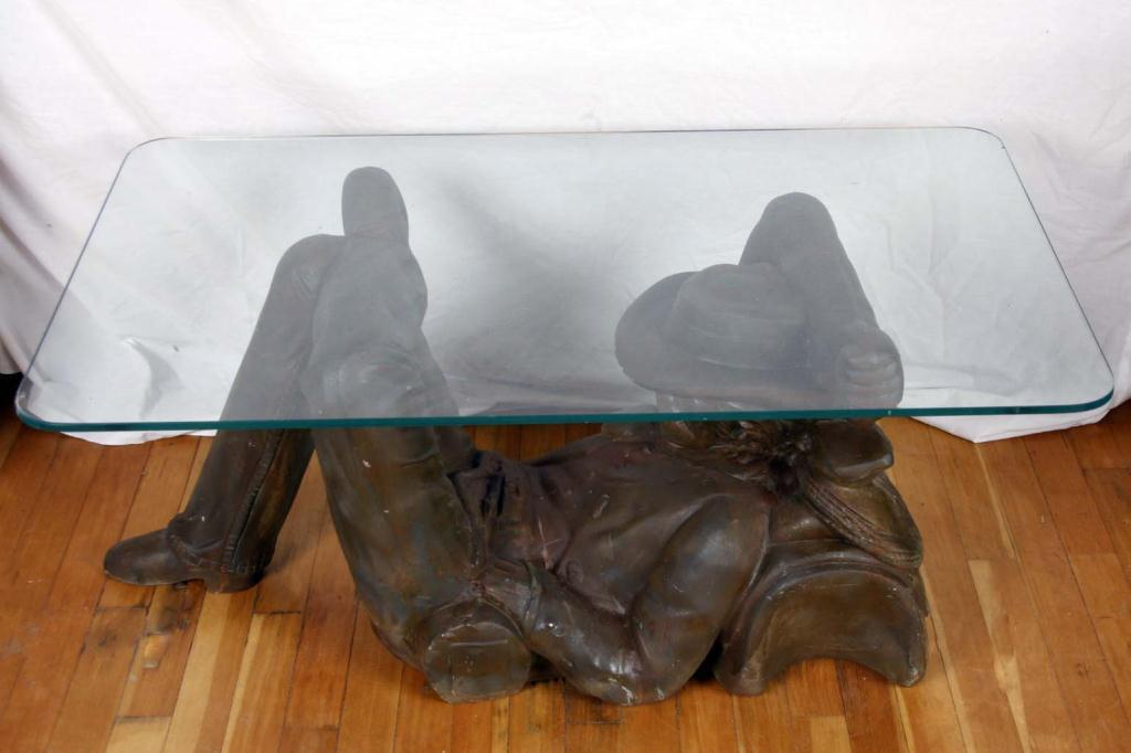 Cast Spelter Reclining Cowboy Coffee Table Glass Top.Glass Top. Loading Zoom