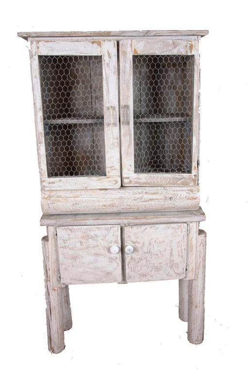 Rustic Shabby-Chic Style Pie Safe Chicken wire inset to cabinet ...