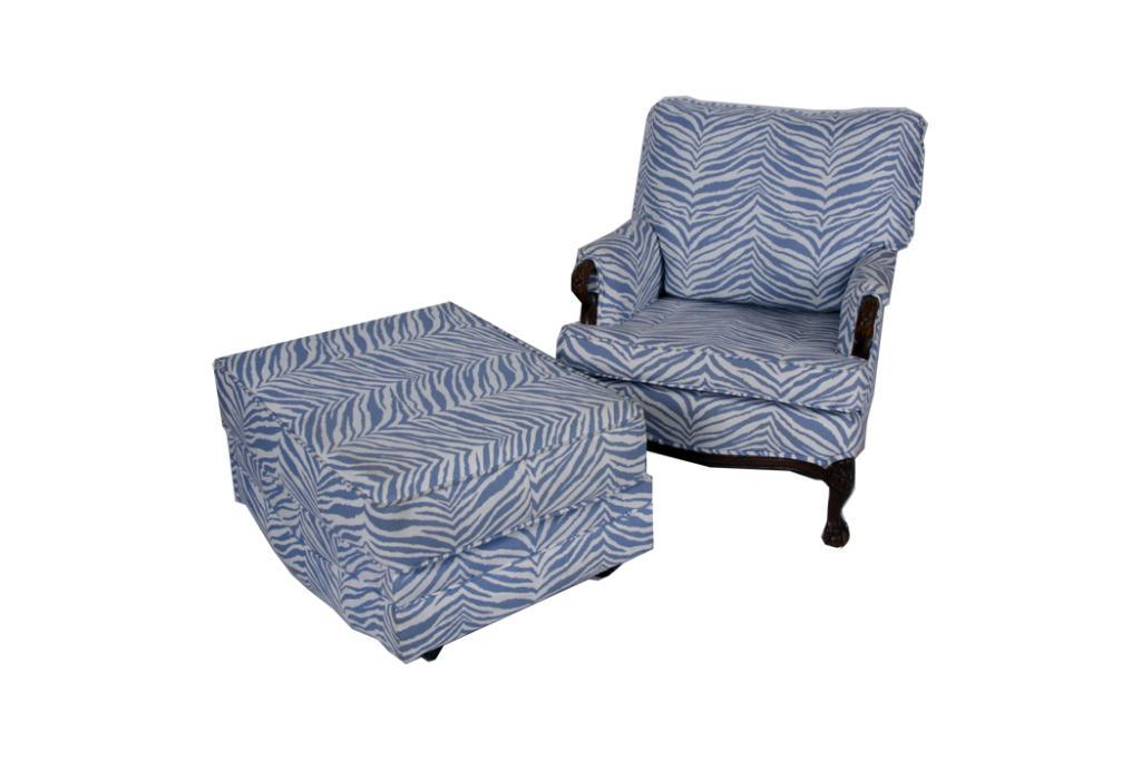 1940s Chair And Ottoman Upholstered In Zebra Blue And White Pattern. Upholstered In Zebra Blue. Loading Zoom
