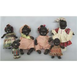 6 Vintage Japanese Black Composition Dolls