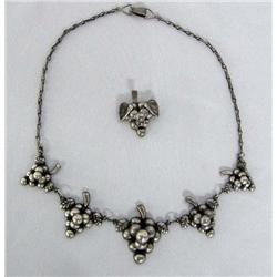 Vintage Mexican Silver Necklace and Pin