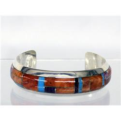 Navajo Silver Channel Inlay Bracelet by Begay