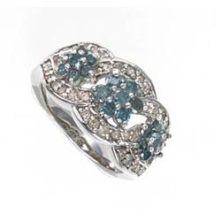 1.5 ctw. Blue & White Diamond 10K White Gold Ring