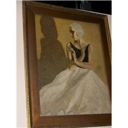 Vintage Oil on board Ballerina. In style of early Picasso (Blue period)