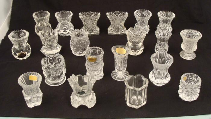 20 Pc Vintage Clear Gl Toothpick Holder Collection Loading Zoom