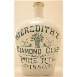 Pre-Prohibition Whiskey Jug  Meredith's Diamond Club Pure Rye 1880
