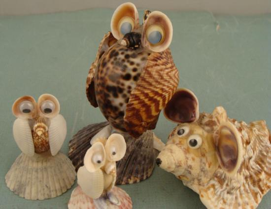 4 seashell animals handmade shell owl mouse collection for Animals made out of seashells