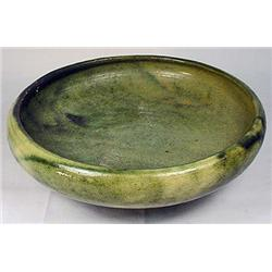 C. 1910'S ART POTTERY FOOTED BOWL - GREEN GLAZE -
