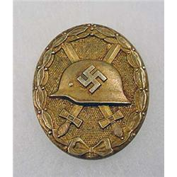 WW2 GERMAN NAZI GOLD WOUND BADGE - WIDE VERTICAL P