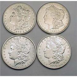 4 MORGAN SILVER DOLLARS - 1887-P, 1888-P, 1900-P,