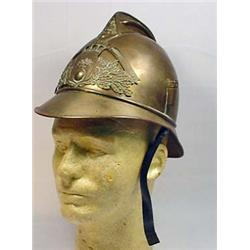 VINTAGE EUROPEAN METAL FIREMANS HELMET W/ LEATHER