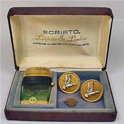 VINTAGE SCRIPTO LIGHTS AND LINKS SET IN ORIGINAL B
