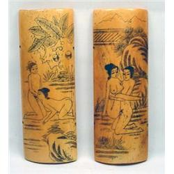 LOT OF 2 EARLY JAPANESE EXOTIC RISQUE SCRIMSHAW -