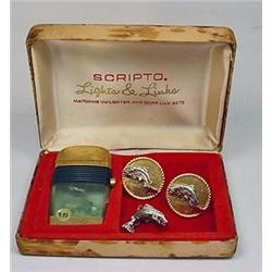 VINTAGE SCRIPTO LIGHTS AND LINKS SET IN ORIG. BOX