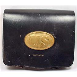 CIVIL WAR ERA ARMY CARTRIDGE POUCH - LEATHER - Bra