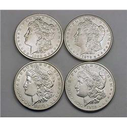 4 MORGAN SILVER DOLLARS - 2 1878-S, 1880-P, 1888-P