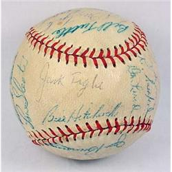 1957 DETROIT TIGERS TEAM SIGNED BASEBALL - 23 Auto