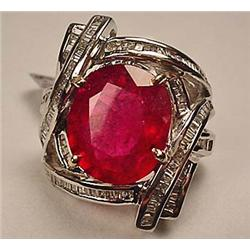 14K WHITE GOLD LADIES TOURMALINE AND DIAMOND RING