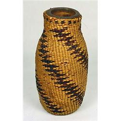 C. 1920S NATIVE AMERICAN INDIAN BASKETRY BOTTLE -