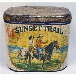 VINTAGE SUNSET TRAIL TOBACCO ADVERTISING TIN W/ OR