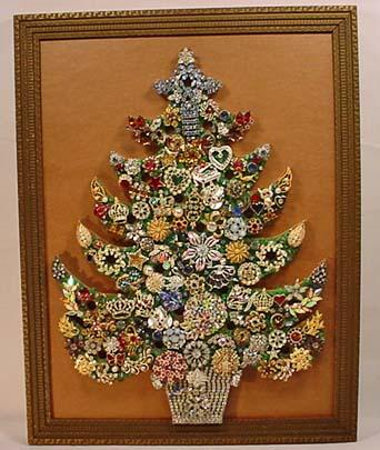 Vintage Costume Jewelry Folk Art Tree Framed A
