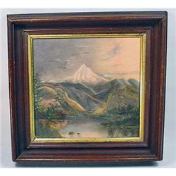 EARLY OIL ON BOARD PAINTING OF MT. HOOD - FRAMED -