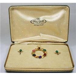 VINTAGE VAN DELL COSTUME JEWELRY BROOCH AND EARRIN